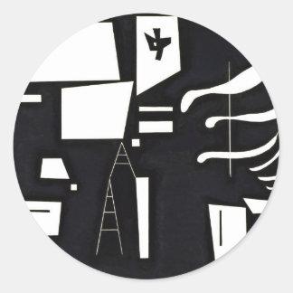 Sticker Rond Kandinsky - blanc, doux et dur