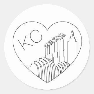 Sticker Rond Kansas City - minimaliste coeur d'horizon de