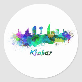 Sticker Rond Khobar skyline in watercolor