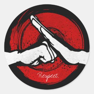 Sticker Rond Kung Fu - salut d'arts martiaux
