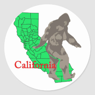 Sticker Rond La Californie Bigfoot