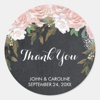 Sticker Rond la craie florale rose vous remercient wedding