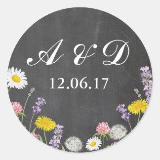 Sticker Rond La craie rustique de fleurs sauvages allume