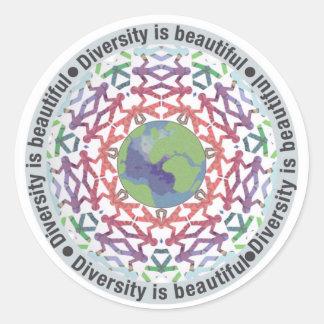 Sticker Rond La diversité est beau monde