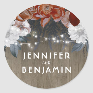 Sticker Rond La ficelle florale rustique allume le mariage de