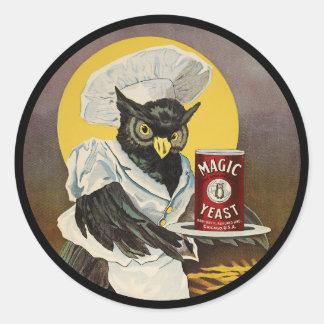 Sticker Rond La levure magique du hibou
