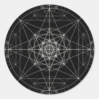 Sticker Rond La troisième géométrie sacrée dimensionnelle