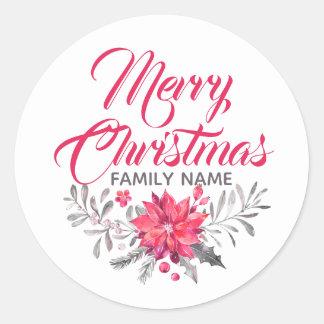 Sticker Rond La typographie de Joyeux Noël fleurit