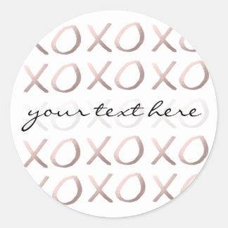 Sticker Rond la typographie rose d'or de faux étreint et