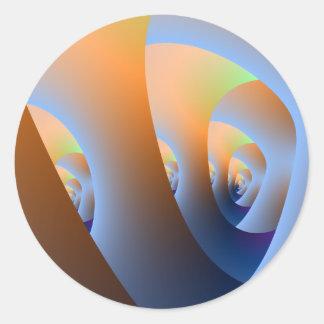 Sticker Rond Labyrinthe dans l'autocollant orange et bleu