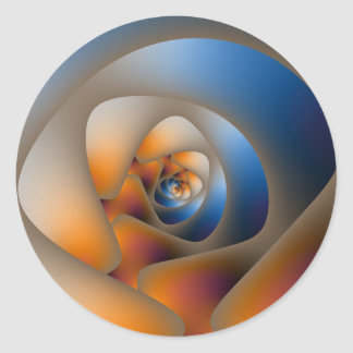 Sticker Rond Labyrinthe en spirale dans l'autocollant bleu et