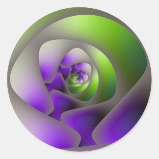 Sticker Rond Labyrinthe en spirale dans l'autocollant vert et