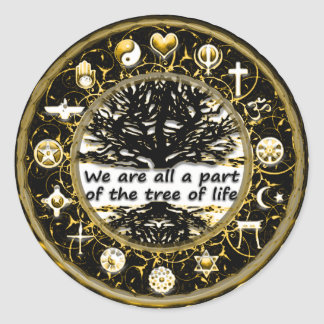 Sticker Rond Laissé il y ait de paix sur l'arbre de la terre de