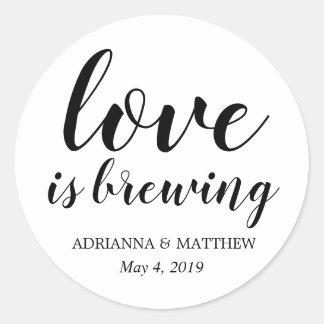 Sticker Rond L'amour brasse la faveur lunatique de mariage
