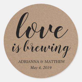 Sticker Rond L'amour brasse la faveur rustique de mariage de