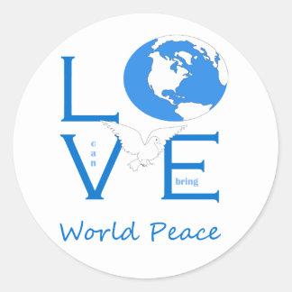 Sticker Rond L'amour peut apporter la paix du monde