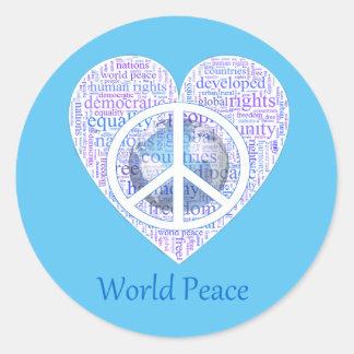 Sticker Rond L'amour peut apporter la paix II du monde