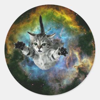 Sticker Rond Lancement de chaton d'univers de chat de galaxie