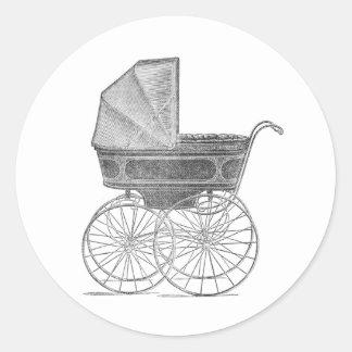 Sticker Rond Landau vintage de bébé en noir et blanc
