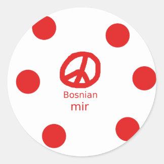 Sticker Rond Langue et conception bosniennes de symbole de paix