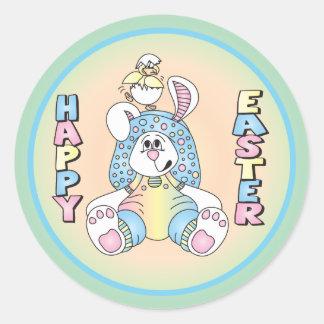 Sticker Rond Lapin et canard de Pâques heureux