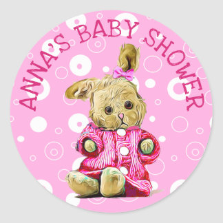 Sticker Rond Lapin rose personnalisé d'autocollants de baby