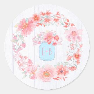 Sticker Rond L'aquarelle rose fleurit le pot de maçon rustique