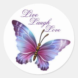 """Sticker Rond L'autocollant/pourpre de papillon """"vivent amour de"""