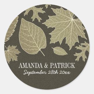 Sticker Rond L'automne rustique d'or de toile de jute laisse