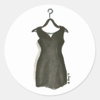 Sticker Rond LBD peu style noir de mode de Fashionista de robe