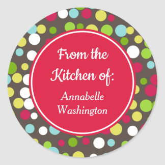 Sticker Rond Le cadeau lumineux de cuisson de cuisine de points