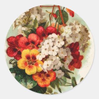 Sticker Rond Le catalogue de graine vintage fleurit