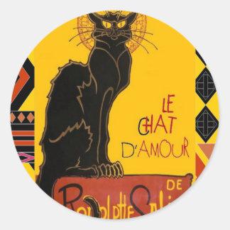 Sticker Rond Le Chat D'Amour avec la frontière colorée ethnique