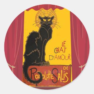 Sticker Rond Le Chat D'Amour avec la frontière théâtrale de