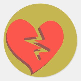 Sticker Rond Le coeur brisé génial