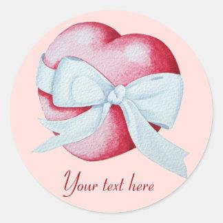 Sticker Rond le coeur rouge romantique d'amour et le ruban