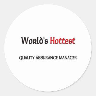 Sticker Rond Le directeur le plus chaud de garantie de qualité