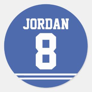 Sticker Rond Le football bleu Jersey - fête d'anniversaire de