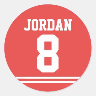 Sticker Rond Le football rouge Jersey - fête d'anniversaire de