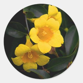 Sticker Rond Le jaune fleurit l'autocollant