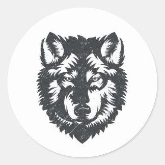 Sticker Rond Le loup solitaire - illustration graphique
