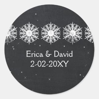 Sticker Rond le mariage de tableau de flocons de neige favorise