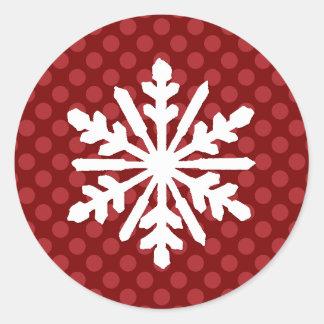 Sticker Rond Le mod rouge pointille le flocon de neige -