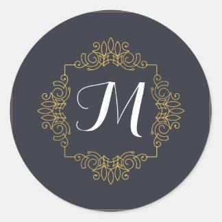 Sticker Rond Le monogramme élégant | de bleu et d'or entrent