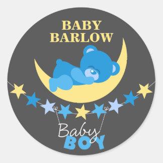 Sticker Rond Le nounours de garçon bleu de sommeil concernent
