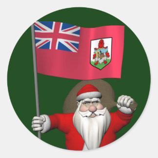 Sticker Rond Le père noël avec le drapeau des Bermudes