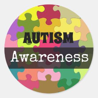 Sticker Rond Le puzzle de sensibilisation sur l'autisme rapièce
