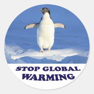 Sticker Rond Le réchauffement climatique d'arrêt multiplient