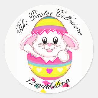 Sticker Rond Le ressort d'autocollant du lapin de Pâques