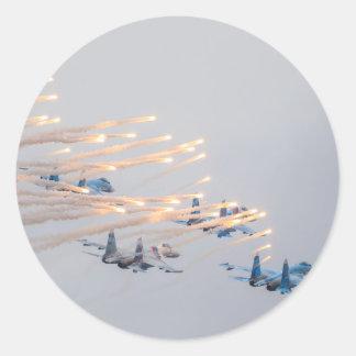 Sticker Rond Le Russe voyage en jet des fusées